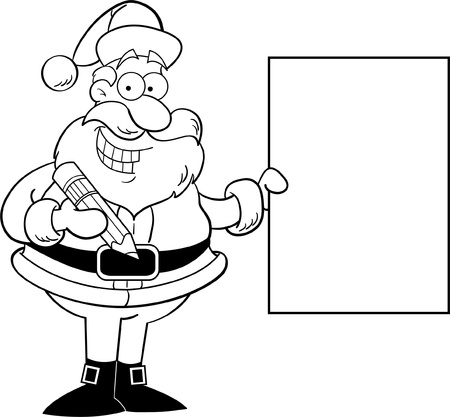 Cartoon illustration of Santa Claus holding a sign for coloring page Stock Vector - 14085323