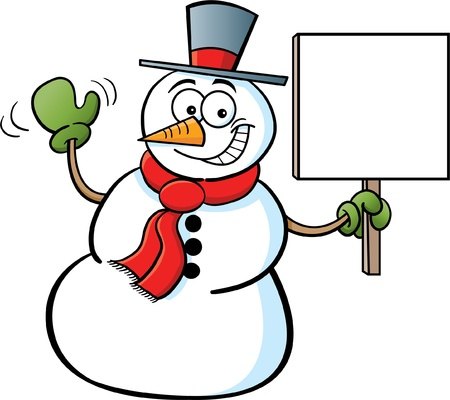 Snowman holding a sign Stock Vector - 14085322