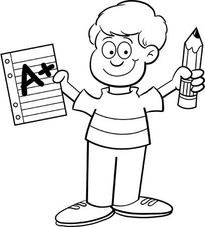 Ilustraci�n de dibujos animados de un ni�o sosteniendo un papel y un l�piz de una p�gina para colorear Foto de archivo - 14085325
