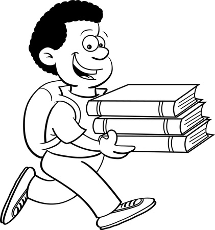 Black and white illustration of a kid carrying books Vector