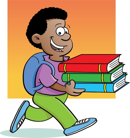Cartoon illustration of a kid carrying books with a background