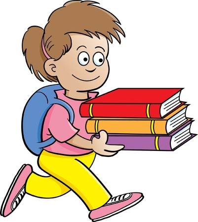carrying: Cartoon illustration of a girl carrying books with a white background