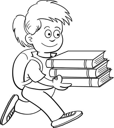 Black and white illustration of a girl carrying books Illustration