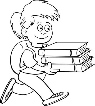 Zwart-wit afbeelding van een meisje met boeken