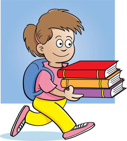 Cartoon illustration of a girl carrying books with a background Stock Vector - 14087714