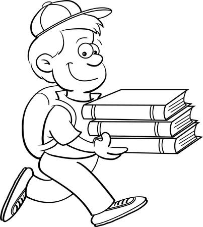 Cartoon illustratie van een jongen die boeken