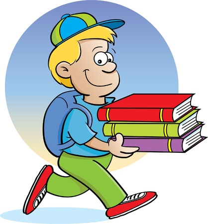 Cartoon illustration of a boy carrying books with a background Illusztráció