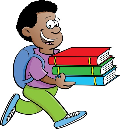 Cartoon illustration of a kid carrying books on a white background