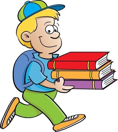Cartoon illustratie van een jongen die boeken op een witte achtergrond
