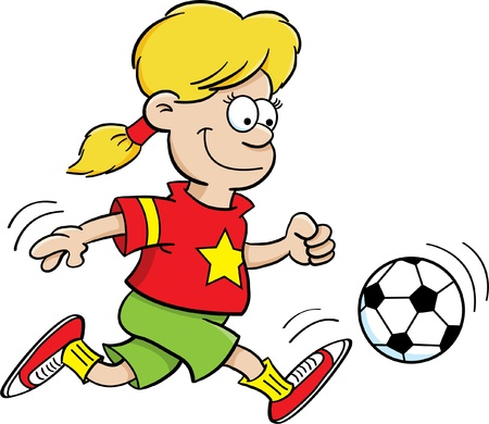 Cartoon Illustration of a Girl Playing Soccer Stock Vector - 14378560