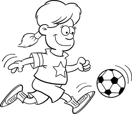 Black and White Illustration of a Girl Playing Soccer Stock Vector - 14378561