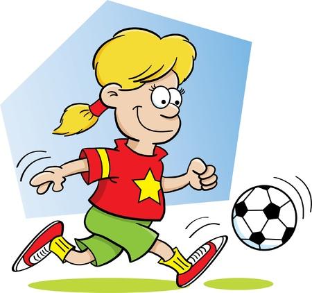 Cartoon Illustratie van een Meisje Playing Soccer