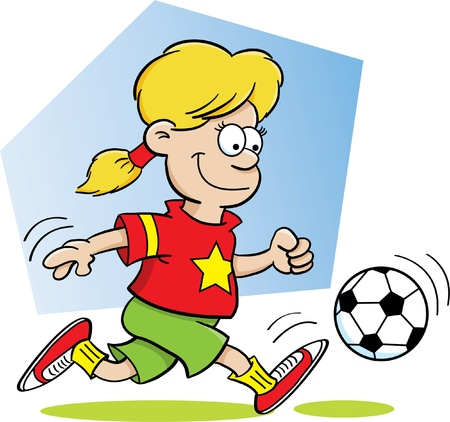 Cartoon Illustration of a Girl Playing Soccer Vector