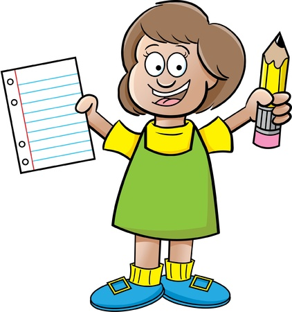 paper background: Cartoon illustration of a girl holding a paper and a pencil on a white background