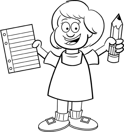 cartoon school girl: Black and white illustration of a girl holding a paper and a pencil