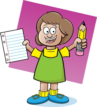 Cartoon illustration of a girl holding a paper and a pencil Stock Vector - 14182779