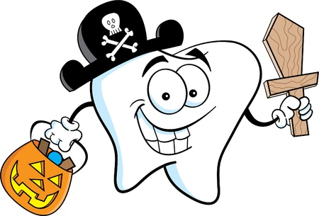 Tooth Dressed in a Pirate Costume Vector