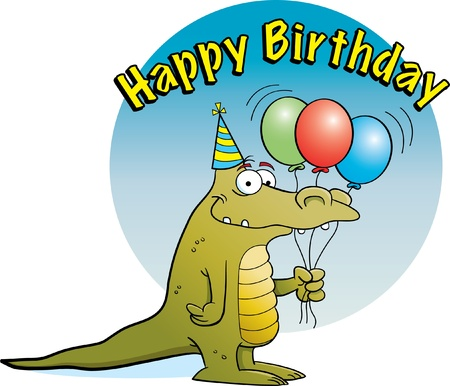 Alligator Holding Balloons Vector