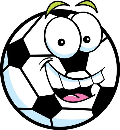 soccer: Cartoon illustration of a smiling soccer ball