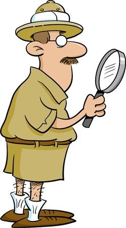 Explorer holding a magnifying glass Illustration