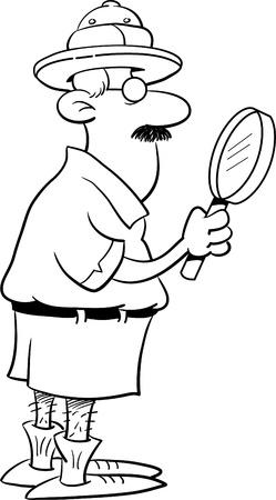 Zwart-wit afbeelding van een ontdekkingsreiziger met een vergrootglas