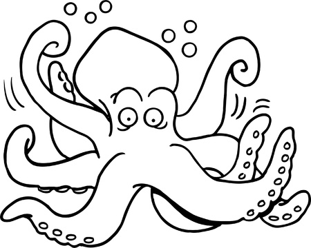 humor: Black and white illustration of a octopus