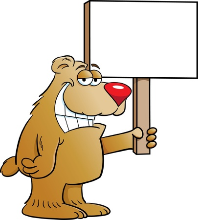 Cartoon illustration of a bear holding a sign Stock Vector - 14236522