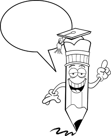 caption: Black and white illustration of a pencil with a caption balloon