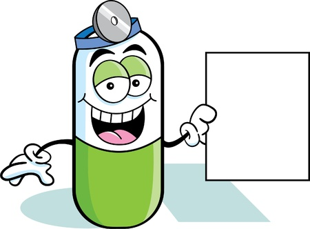 pill: Cartoon Illustration of a pill holding a sign