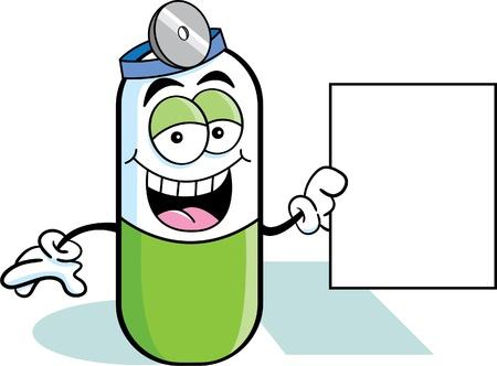 pastillas: Ilustraci�n de la historieta de una p�ldora con un cartel