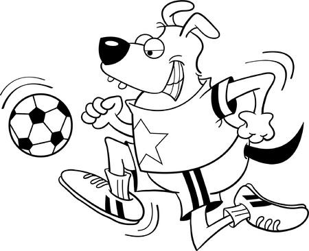Zwart-wit afbeelding van een hond voetballen