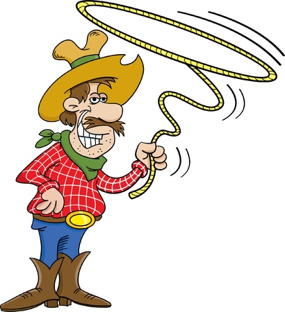 Cartoon illustration of a cowboy twirling a lasso Vector