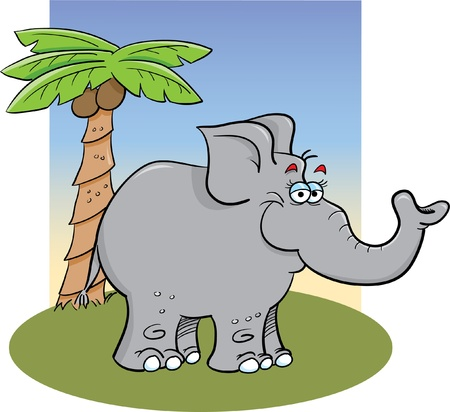 Cartoon grey elephant with a background Vector
