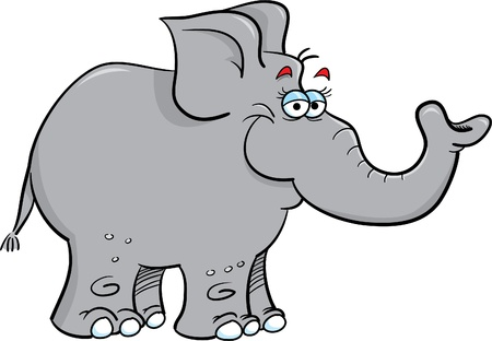 Cartoon illustration of a grey elephant Vettoriali