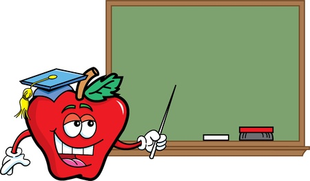 Cartoon illustration of an apple with a blackboard