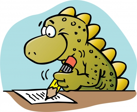 Cartoon illustration of a dinosaur writing