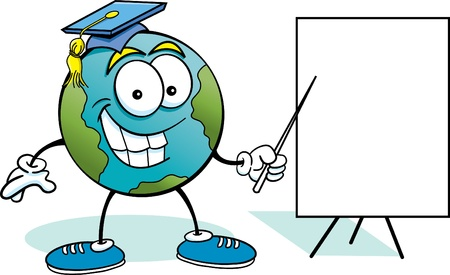 Cartoon illustration of the earth with a sign