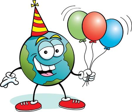 Cartoon illustration of the earth holding balloons Stock Vector - 14312747