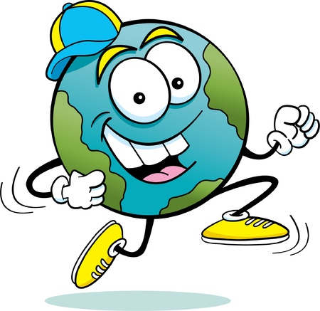Cartoon illustration of the earth running
