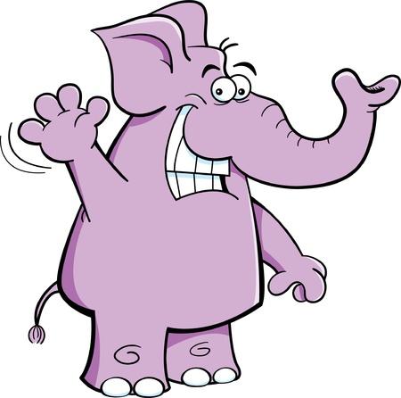 Cartoon ilustración de un elefante, agitando