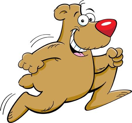 Cartoon illustration of a bear running Vector