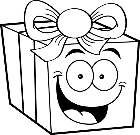 Black and white illustration of a happy gift
