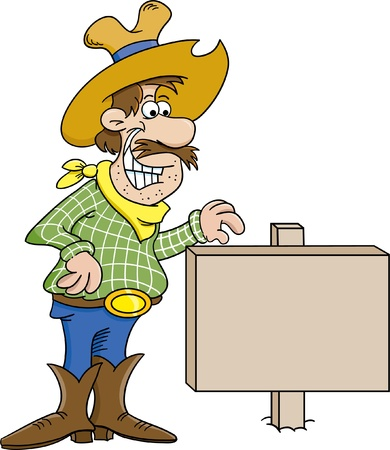 Cartoon illustration of a cowboy with a sign