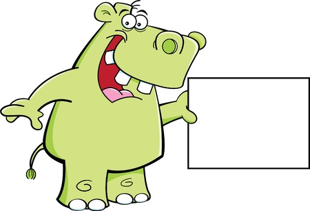 Cartoon Illustration of a Hippo Holding a Sign Stock Vector - 14413543