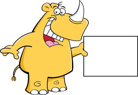 nashorn: Cartoon Darstellung eines Nashorns mit einem Schild Illustration