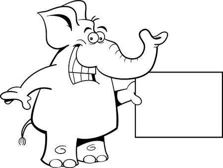 Black and white illustration of an elephant with a sign