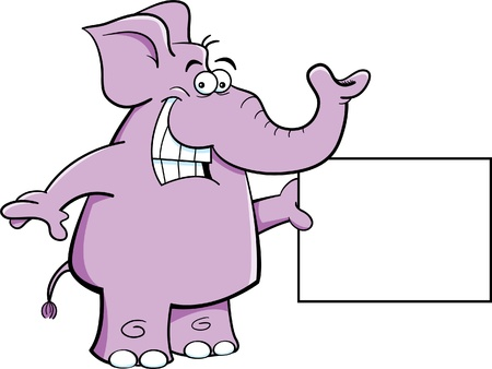Cartoon illustration of an elephant with a sign Vector