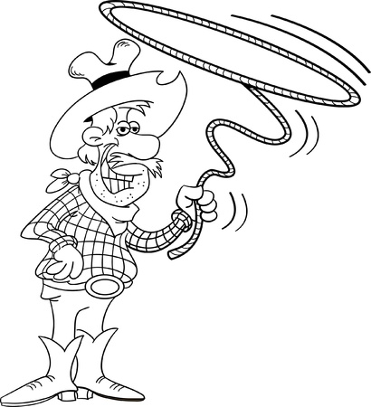 Black and white illustration of a cowboy with a sign 矢量图像