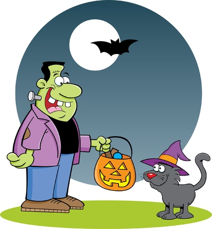 Cartoon illustration of Frankenstein with a cat Vector