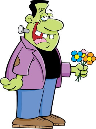 humorous: Cartoon illustration of Frankenstein holding flowers